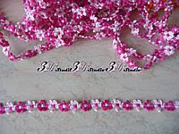 Тесьма цветочная темно-розовый со светло-розовым ширина 13 мм