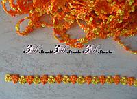 Тесьма цветочная оранжевый с желтым ширина 13 мм