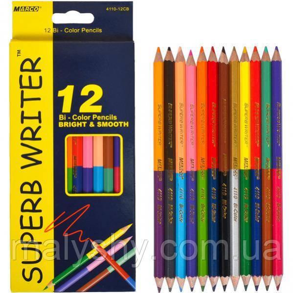 Карандаши цветные двусторонние 4110 /12 штук (24 цвета) MARCO SUPERB WRITER олівці кольорові марко двосторонні
