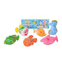 HU Пищалка 2107-6 (144шт) морские животные, 6 шт в кульке, 25-21,5-5см