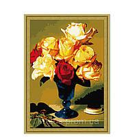 """G 255 """"Садовые розы в вазе"""" Роспись по номерам на холсте 40х50см"""