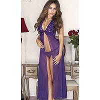Длинное сексуальное прозрачное макси платье Эмили в фиолетовом цвете