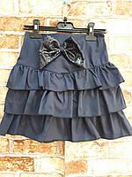 Детская школьная юбка с бантом_оптом