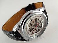 Мужские механические часы в стиле Оmega skeleton, светлый циферблат