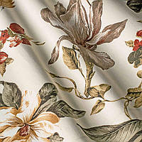 """Ткань """"Колибри"""" оранжевые цветы и птички для штор и обивки мебели"""