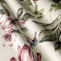 """Ткань """"Колибри"""" розовые цветы и птички для штор и обивки мебели"""