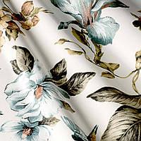 """Ткань """"Колибри"""" голубые цветы и птички для штор и обивки мебели"""