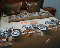 """Постельное для мальчиков """"Мотоциклы на коричневом фоне"""", полуторка. тк. РАНФОРС, рисунок 3Д 1130"""