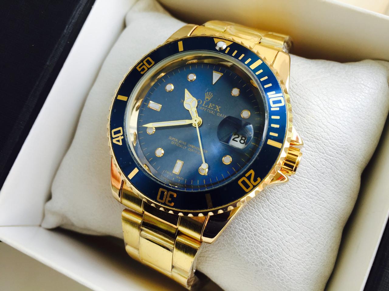 Наручные часы синие с золотом российские механические наручные часы чайка