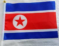 Флажок Северной Кореи 13x20см на пластиковом флагштоке