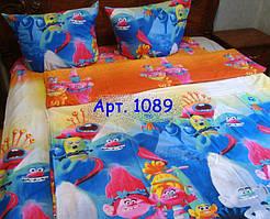 """Детское постельное """"Тролли"""" ткань ранфорс рисунок 3Д 1089"""