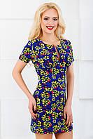 Женское платье 3038 синий+желтые цветы