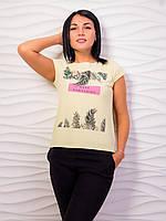 Стильная женская футболка с тропическим принтом p.42-48 VM1988-1
