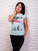 Стильная женская футболка с тропическим принтом p.42-48 VM1988-2