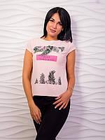 Стильная женская футболка с тропическим принтом p.42-48 VM1988-3