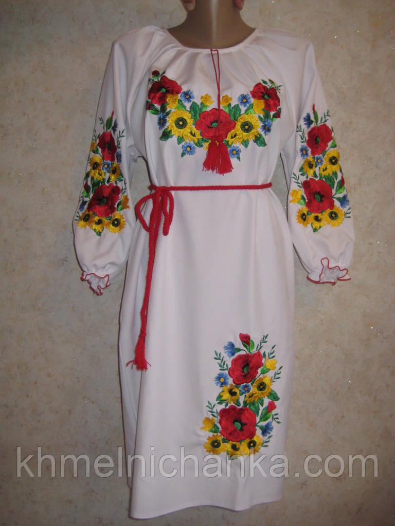 """Белое вышитое платье """" Маки с подсолнухами"""" . Размеры 46, 48, 50, 52"""