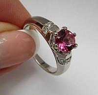 Кольцо с розовым мистик топазом 6мм. Размер 19.0