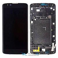 Модуль Дисплей LG MS330 K7, LS675 Tribute 5 с тачскрином и рамкой, черный (оригинал)