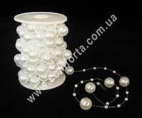 33935 Жемчуг на нити, бусы  белые перламутровые, диаметр бусин ~ 4 мм и 14 мм, длина нити ~ 10 м