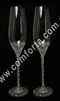 29154 Чаша любви, свадебные бокалы с кристаллами DMC хамелеон (2 шт), высота ~ 26,5 см
