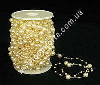 29570-01 Жемчуг на нити, бусы кремовые перламутровые, диаметр бусин ~ 3 мм и 8 мм, длина нити ~ 30 м