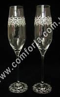 29244 Лента, бокалы свадебные с кристаллами DMC (2 шт), высота ~ 26,5 см