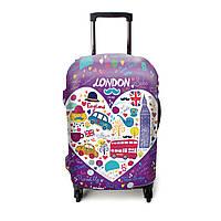 Защитный чехол для чемодана ЧехлоDan Love London All Europe Violet Series