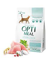 Сухой корм Optimeal для стерилизованных кошек и кастрированных котов - индейка и овес, 0,3кг
