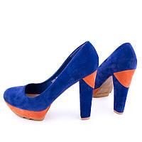 Туфли женские замшевые 7501 Blue/Orange(39 размер ),женская обувь