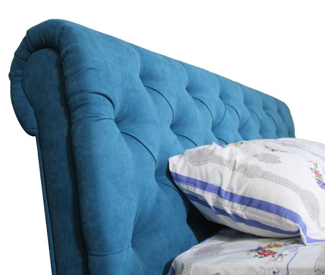 Кровать двуспальная Лондон цвет синий (изголовье)