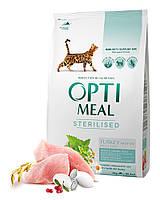 Сухой корм Optimeal для стерилизованных кошек и кастрированных котов — индейка и овес, 4кг
