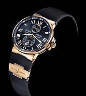 Классические наручные мужские часы Ulysse Nardin Maxi Marine Black 10 реплика, фото 1