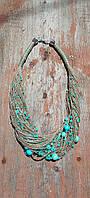 Эко-колье на шею из натуральной льняной нити с бусинами и бисером в бирюзово-голубых тонах.