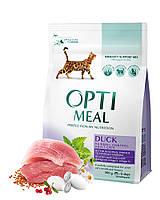 Сухой корм Optimeal для взрослых кошек с эффектом выведения шерсти - утка 0,3кг