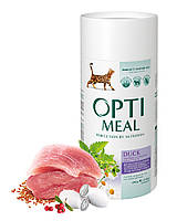 Сухой корм Optimeal для взрослых кошек с эффектом выведения шерсти - утка, 0,65кг