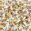 Штапель с букетами цветов на желто-молочном фоне