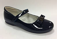 Школьные Туфли для девочки синие Размеры 32 33 34 35 36