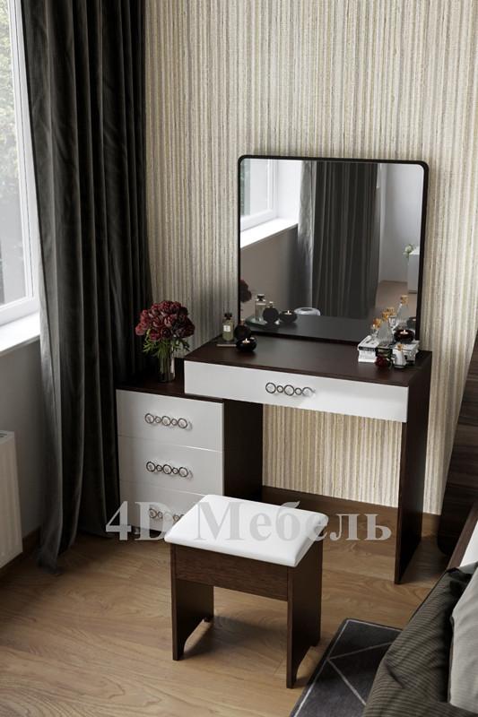 Большой вместительный будуарный столик с большим зеркалом и тумбой, модель BS-104, UGO-mebel