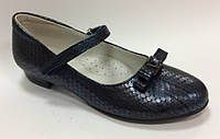 Школьные Туфли на каблуке для девочки синие Размеры 32 33 34 35 36