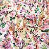 Штапель с сиренево-розовыми цветами на молочном фоне