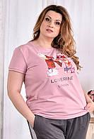 До 74 размера, Красивая молодежная женская футболка из качественного трикотажа летняя повседневная стрейчевая
