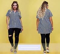 Женская рубашка полосатая большого размера с 46-60 размер
