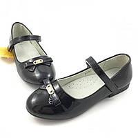 Школьные туфли для девочки Clibee Бантик, черный (р.32,33,36,37)