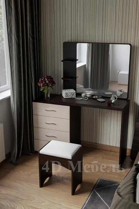 Большой вместительный будуарный столик с зеркалом, полками и тумбой, модель BS-105, UGO-mebel