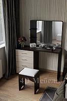 Большой вместительный будуарный столик с зеркалом, полками и тумбой, модель BS-105, UGO-mebel, фото 1