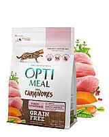Беззерновой сухой корм Optimeal для взрослых кошек - индейка и овощи, 0,3кг