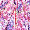 Штапель с ветками голубых и розовых цветов на розовом фоне