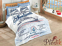 Двуспальное постельное бельё 200х220 Cotton box  Ранфорс HARBORS MAVI
