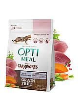 Беззерновой сухой корм Optimeal для взрослых кошек - утка и овощи, 0,3кг