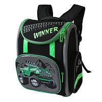Каркасный школьный ранец для мальчика Winner Stile, черно-салатовый